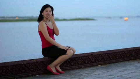 chinese business woman sent kisses Stock Video Footage