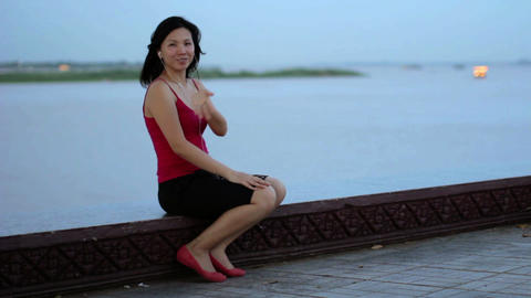 chinese business woman sent kisses Footage