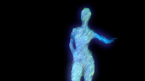 Girl of lines dances disco. Seamless loop with alpha matte Animation