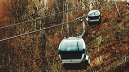 SOCHI. RUSSIA - CIRCA DEC 2015: Close-up view of cableway cabins lifts up and go Footage