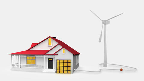 Animation of wind turbine powering a house Animation