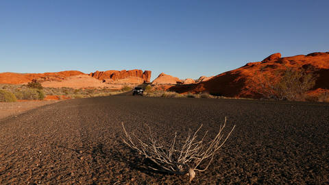 Scenic road through the Valley of Fire National Park Footage