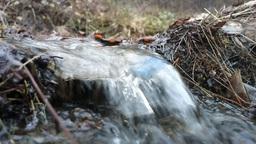 clean Creek water and plastic trash bottle Footage