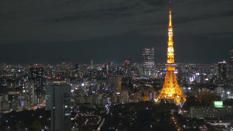 Elevated pan view of central Tokyo nightscape 画像
