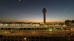 Sunset behind Haneda airport and illumination lighting up ビデオ