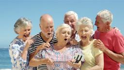 Senior friends taking selfie Footage