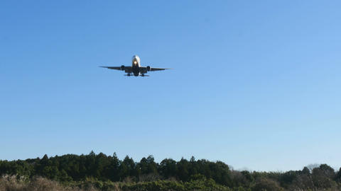 A modern jet approaching landing over a forest in blue skies. With sound Footage