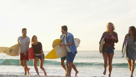 Group of friends holding surfboard Footage
