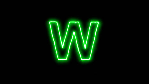 Neon flickering green latin letter W in the haze. Alpha channel Premultiplied - Animation