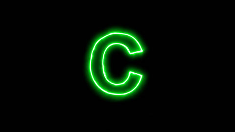 Neon flickering green latin letter C in the haze. Alpha channel Premultiplied - Animation