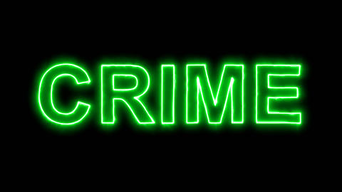 Neon flickering green text CRIME in the haze. Alpha channel Premultiplied - Animation