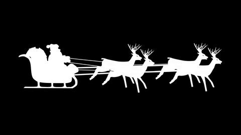 Santa Claus riding in a sleigh with reindeer. White silhouette on black Animation