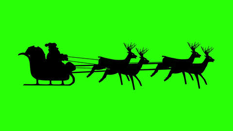 Santa Claus riding in a sleigh with reindeer. Loopable Green Screen Animation Footage