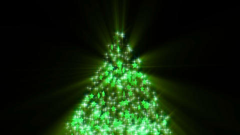 Christmas tree glitter stars shiny loop-green Image