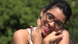 Hopeful Female Teen Wearing Glasses In Love Footage