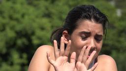 Fearful Hispanic Pretty Teen Girl Live Action