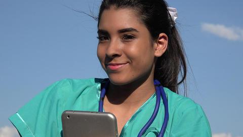 Happy Young Female Nurse Live Action