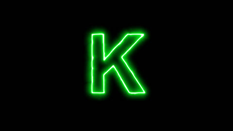 Neon flickering green latin letter K in the haze. Alpha channel Premultiplied - Animation