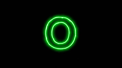 Neon flickering green latin letter O in the haze. Alpha channel Premultiplied - Animation