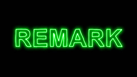 Neon flickering green text REMARK in the haze. Alpha channel Premultiplied - Animation