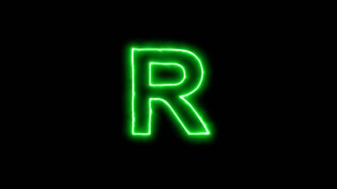 Neon flickering green latin letter R in the haze. Alpha channel Premultiplied - Animation