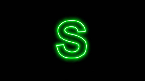 Neon flickering green latin letter S in the haze. Alpha channel Premultiplied - Animation