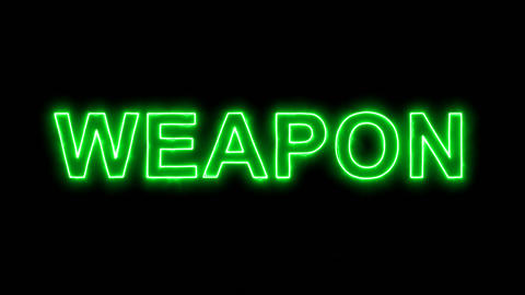 Neon flickering green text WEAPON in the haze. Alpha channel Premultiplied - Animation