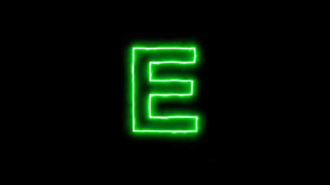 Neon flickering green latin letter E in the haze. Alpha channel Premultiplied - Animation