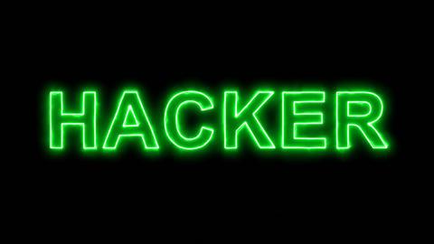 Neon flickering green text HACKER in the haze. Alpha channel Premultiplied - Animation