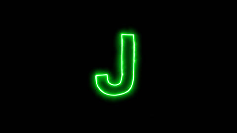 Neon flickering green latin letter J in the haze. Alpha channel Premultiplied - Animation