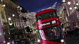 Christmas lights at Haymarket London UK Footage