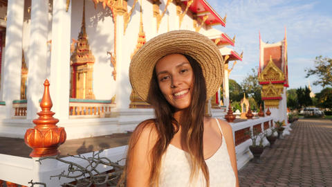Portrait of Smiling Attractive Young Mixed Race Hipster Tourist Girl in Straw Footage