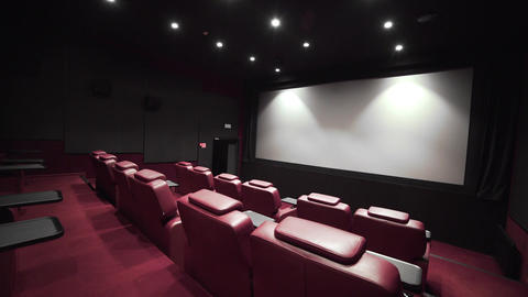 Panorama of the cinema theater with comfort leather armchairs, cinema without Live Action