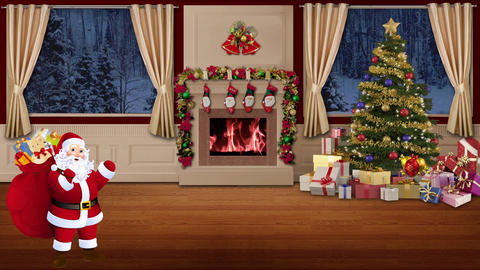 Christmas TV Studio Set 28 - Virtual Green Screen Background Loop Footage