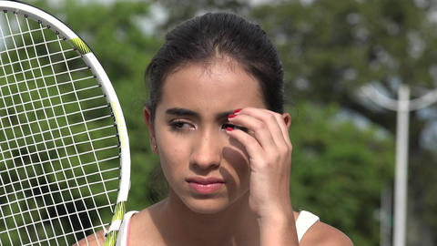 Unhappy Teen Female Tennis Player Live Action