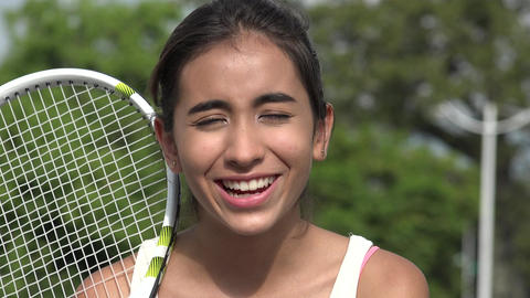 Teen Female Tennis Player Talking Live Action