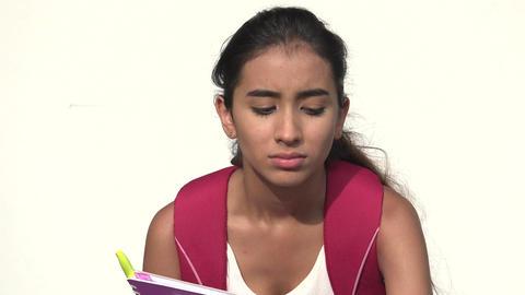 Unhappy Hispanic Female Teen Student Live Action