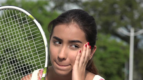 Serious Unhappy Teen Female Tennis Player Live Action