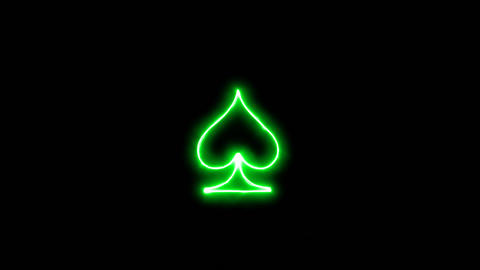 Neon flickering green spade suit in the haze. Alpha channel Premultiplied - Animation