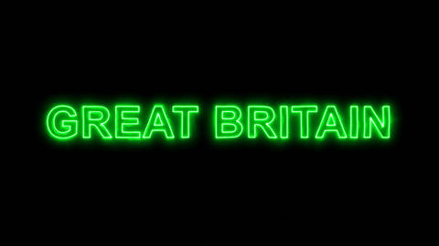 Neon flickering green country name GREAT BRITAIN in the haze. Alpha channel Animation