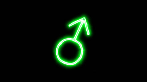 Neon flickering green Male Sign in the haze. Alpha channel Premultiplied - Animation