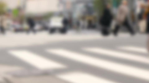 Defocused image of people at Sukiyabashi crossing Footage