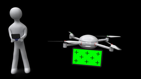 3d man controls drone with green screen on transparent background. PNG+Alpha Animation