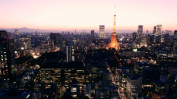 Sunset timelapse of Mount Fuji and Tokyo central lights Footage