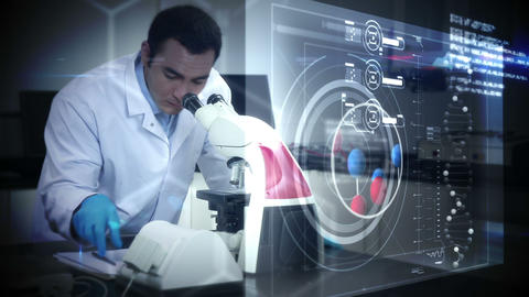 Scientist looking in a microscope Animation
