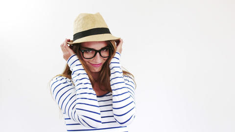 Pretty brunette with eyeglasses and hat Live Action