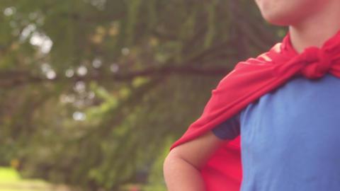 Children pretending to be superhero Footage