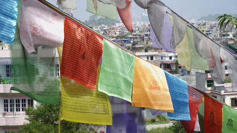 Prayer flags on the background of Kathmandu houses Footage