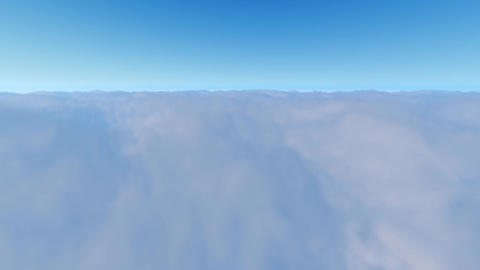 Flight over white clouds and blue clear sky Footage