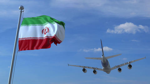 Airplane flying over waving flag of Iran 画像